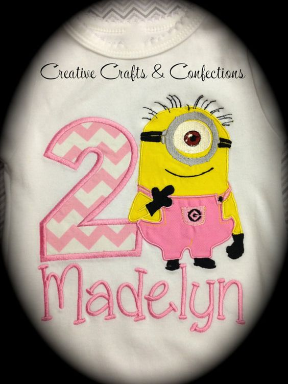 Birthday Despicable Me Minion Inspired T Shirt with Applique Number- Girly Pink Pants Minion- Personalized with Name on Etsy, $32.00