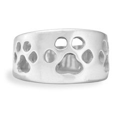 This Sterling Silver Paw Print wide band ring is a great addition to your jewelry collection. Uniquely designed this Paw Print ring speaks to both men and woman. Band is created wide enough and thick enough to withstand an active lifestyle. If you're looking for that special gift for dog lover friend, look no further, they will cherish this ring forever.