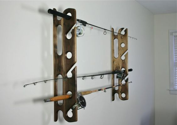 Fishing rods fishing and rod holders on pinterest for Wall fishing pole holder