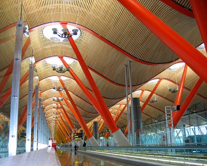 I know it's an airport, but Terminal 4 in Madrid is beautiful.