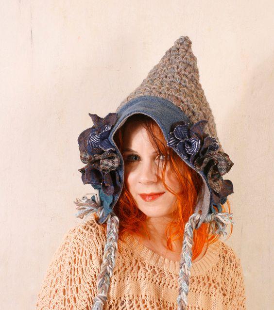 Woman pixie hat Hood hat Gnome hat blue Crochet hat blue Hobbit hat Knit hat…
