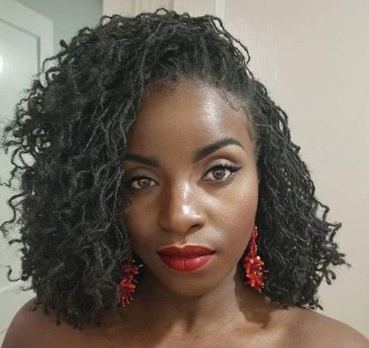 Brown-skinned African american girl. Cute sisterlocks on pretty black woman.  sisterlocs. Nike, good … | Sisterlocks styles, Sisterlocks styles updo,  Locs hairstyles