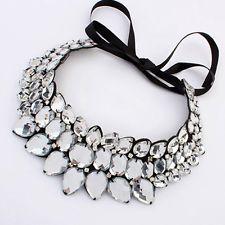 Fashion Lady Jewelry Pendant Crystal Choker Chunky Bib Statement Necklace Collar