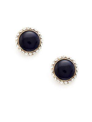 Lulu Frost Blue Resin & Crystal Disc Earrings