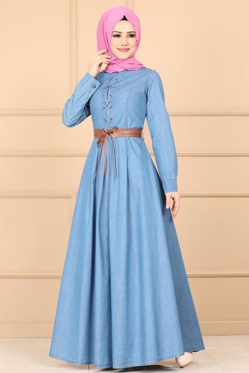 Modaselvim Elbise Bagcik Detay Kot Elbise 8731w153 Acik Kot Klas Elbiseler Kot Elbiseler Elbiseler