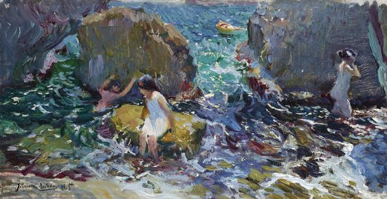 Joaquín Sorolla SPANISH NIÑOS BAÑANDOSE ENTRE ROCAS, JÁVEA (CHILDREN ON THE SHORE, JÁVEA):