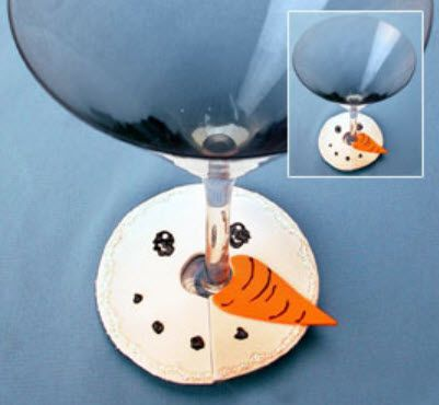 DecoArt® Snowman Face Wine Glass Cover #craft #snowman #winter
