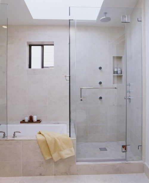 Great bath and shower combo similar window placement as Shower tub combo with window