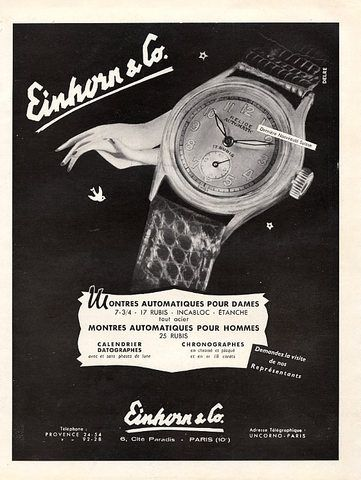 Einhorn & Co. (Watches) 1950 Relide