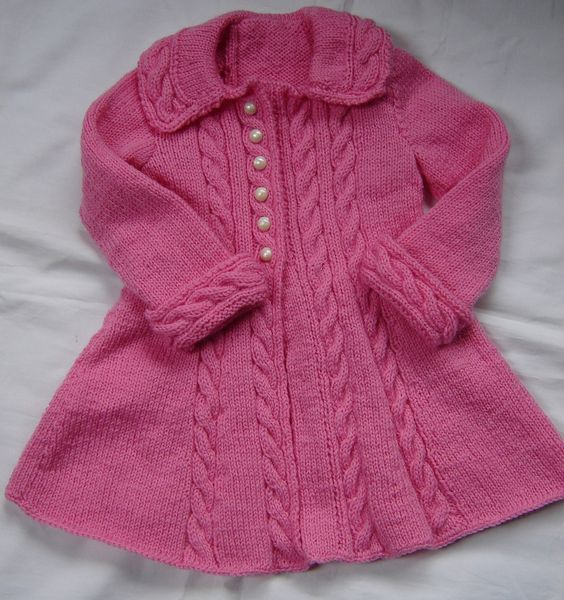 Baby Girls Toddler Sweater Coat Swing Style Hand Knit Crochet Size