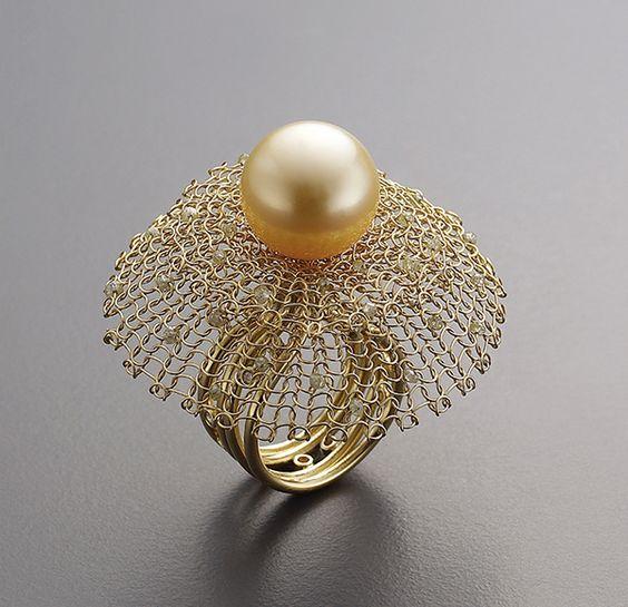 ring 18k gold rough diamond beads gold pearl diamond. Black Bedroom Furniture Sets. Home Design Ideas