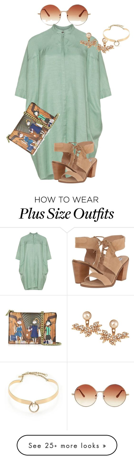 """""""plus size ultra summer chic"""" by kristie-payne on Polyvore featuring Steve Madden, Topshop, Love Moschino, Joanna Laura Constantine and Alexis Bittar"""