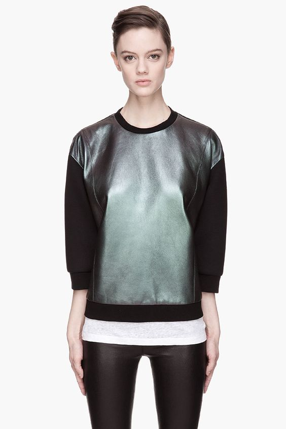 NEIL BARRETT Black and purple Iridescent Leather sweatshirt