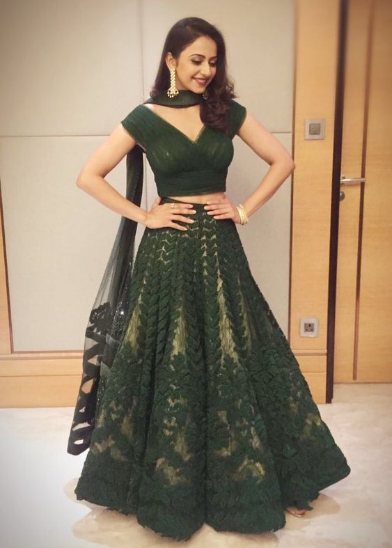 Bottle Green lehnga with top for brides