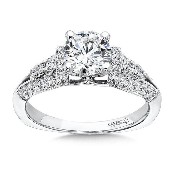 Caro 74 - 14K White Gold 0.39 ct Diamond Engagement Ring Setting CR378W-IC74D
