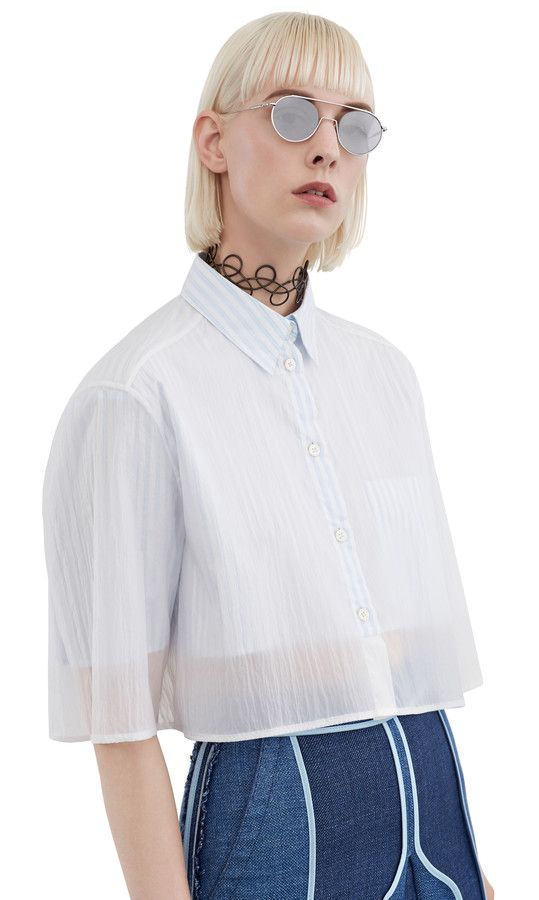 Acne Studios Gallio Stripe Thin Blue Mix Dual layer shirt
