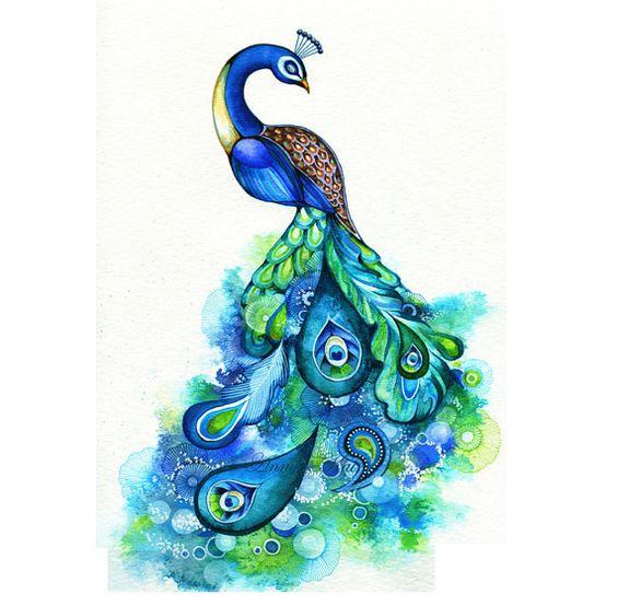 Peacock  Abstract Watercolor Fantasy Painting  Nature by annya127