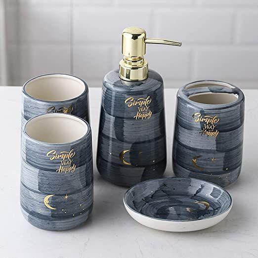 Tellgoy 6 Piece Ceramic Bathroom Accessory Set European Bathroom Accessories Set With Tray Deco Hand Painted Ceramics Bathroom Accessory Set Ceramic Painting