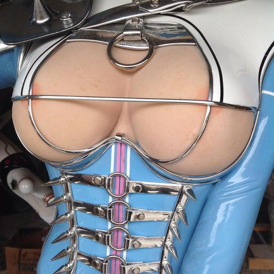 """""""Part of 'Miss Cherry Popper' 7ft tall, fiberglass. Boobs, spikes and rubber, what's not to like?"""""""