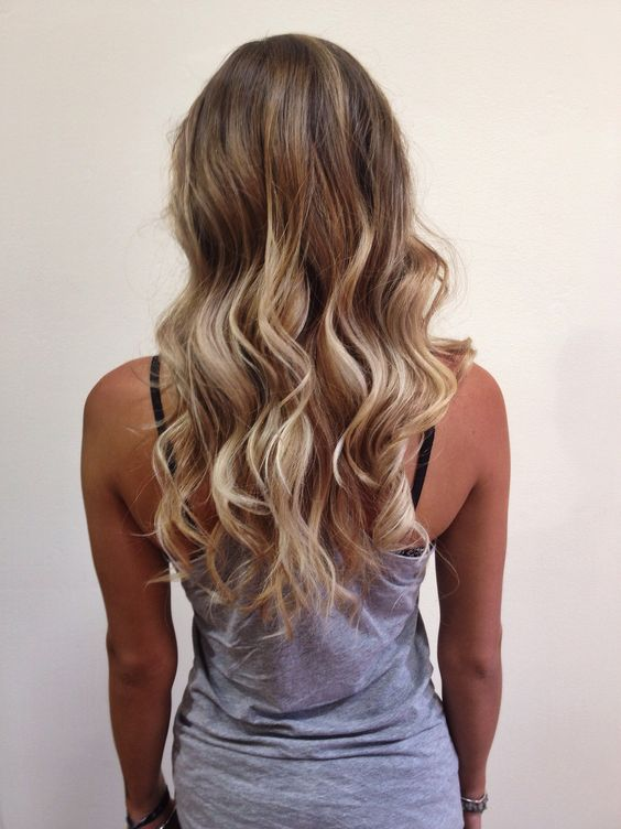 Ombré. balayage. highlights. blonde. beach waves. Long hair. Light brown