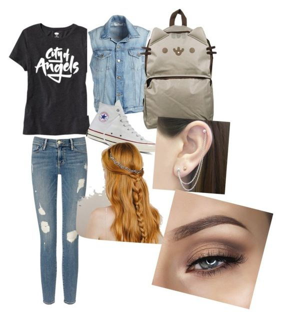 back to school time by alexanderabouchard on Polyvore featuring moda, Old Navy, Frame Denim, Converse, Pusheen, Otis Jaxon, backpacks, contestentry and PVStyleInsiderContest