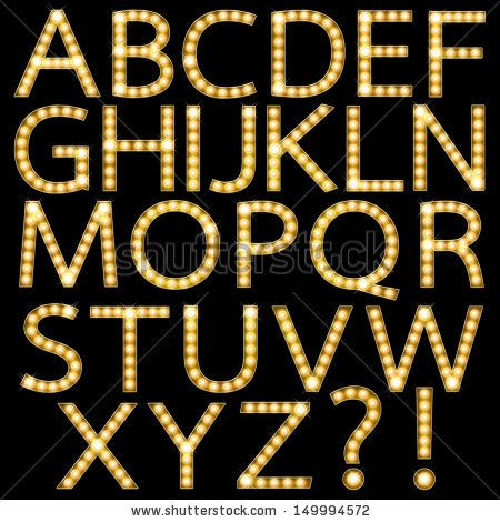 Theater Marquee Lights font   Set of Golden Broadway Light Bulb ...