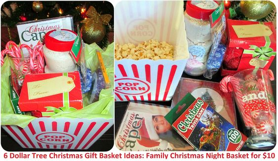 My Dollar Store DIY Christmas Gift Ideas for Cheap - Six Gift Baskets from Dollar Tree: Christmas Family Time Basket