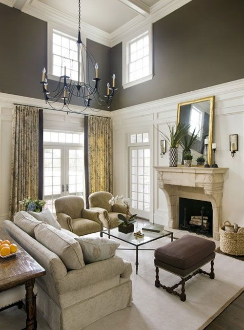Paint colors two tones and high ceilings on pinterest - How to decorate tall walls ...