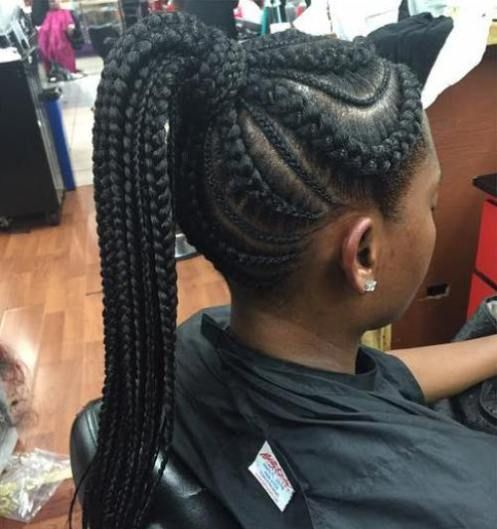 Big And Small Cornrows With A High Ponytail Trenzas Africanas Peinados Trenzas