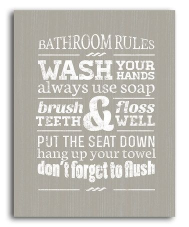 Take a look at this Gray Bathroom Rules Wall Art by Laila's on #zulily today!