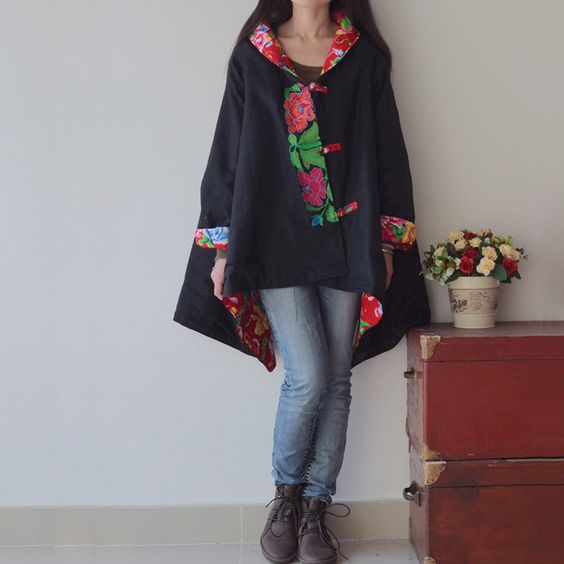 2013 autumn and winter trend national embroidery plus size loose cloak cotton-padded cloak wadded jacket women's cotton-padded $46.82