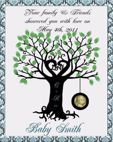 Fingerprint Tree For Baby Shower | Baby Shower  Finger Print Tree With Tire  Swing Guest
