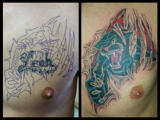 Panthers cover up and 3d on pinterest for Cover up chest tattoos