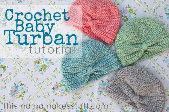 Crochet Baby Turban Hat Tutorial #crochet #DIY