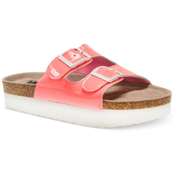 Muk Luks Diane Double-Band Flatform Sandals ($40) ❤ liked on Polyvore featuring shoes, sandals, coral, flatform sandals, flatform shoes, double strap sandals, muk luks shoes and coral shoes