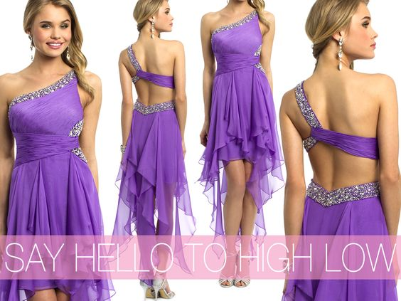 Camille La Vie one shoulder purple high low prom dress