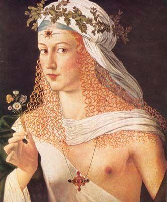 Bartolomeo Veneto (c. 1502-1530) painting of a woman (probably Lucrezia Borgia)