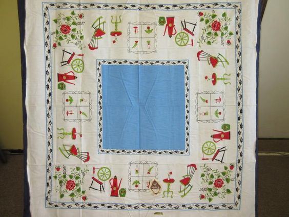 Superieur Fab Vtg 50s Crisp Cotton Red Rose French Blue Country Print Tablecloth Tag  | EBay