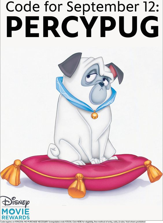 Enter the Disney Movie Rewards Dog Days of Summer Sweepstakes.for a chance to win a drool-worthy grand prize. Enter the sweepstakes and get a new code each week to unlock additional entries or points. Click the image to enter the code. This week's code is: PERCYPUG