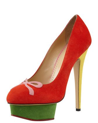 Arabella Colorblock Suede Bow-Toe Pump by Charlotte Olympia at Bergdorf Goodman.