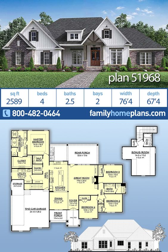 Traditional Style House Plan 51968 With 4 Bed 3 Bath 2 Car Garage Family House Plans Traditional House Plans Craftsman House Plans Traditional house plan 80801