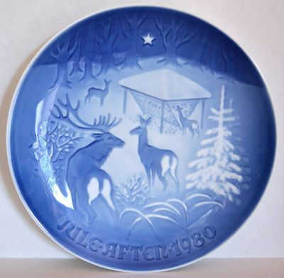 1980 Bing and Grondahl Christmas Plate was a very good year! 1980 presented Karrah Luduska whose Christmas plate was to foretell of her feeding the masses and socializing with males & females of this elegant  breed;  she too can be gentle as a doe or pointed as the buck's antlers...  either situation she is an original and not to be taken lightly ...