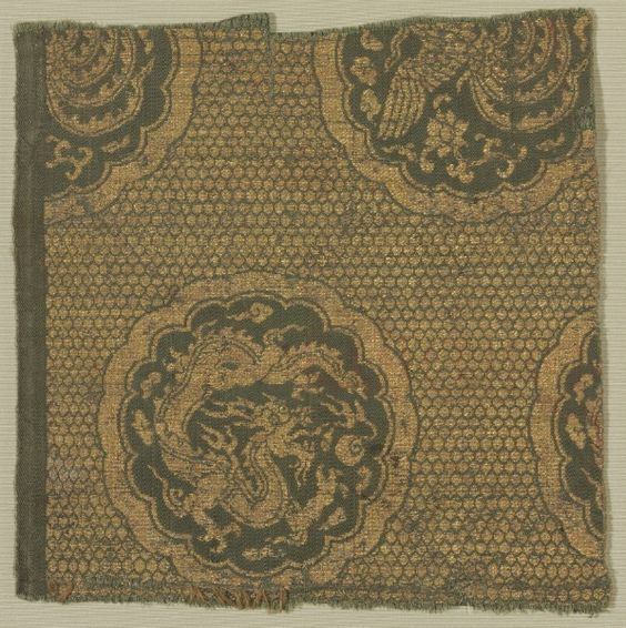 Textile with Phoenixes and Dragons, 1279-1368  China, Yuan dynasty (1260-1368)  lampas, silk and gold thread, Overall - h:20.35 w:20.35 cm (h:8 w:8 inches). Edward L. Whittemore Fund 1995.73. Cleveland Museum of Art.