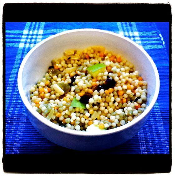 Perfect for Summer Entertaining! Fruit 'n Feta Israeli Couscous Salad with Meyer Lemon-Maple Vinaigrette
