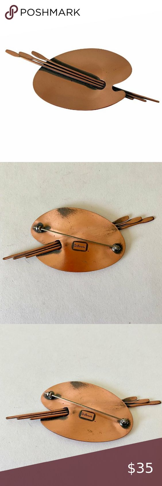 Vintage Signed Renoir Copper Tie Clip  19-56