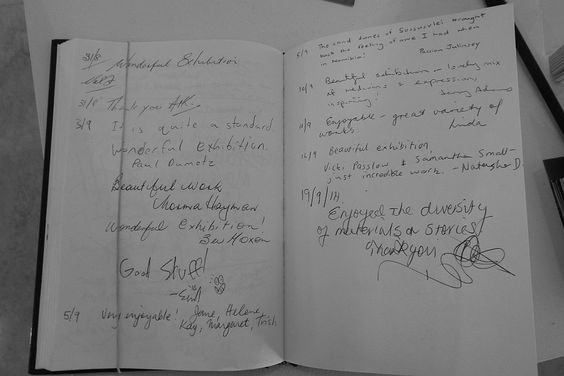 Visitors' book - Strathnairn by the Lake exhibition, Belconnen Arts Centre, August-Sept 2014