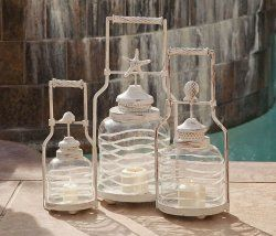Candle Lantern Set- Frosted Globe Shell Lanterns