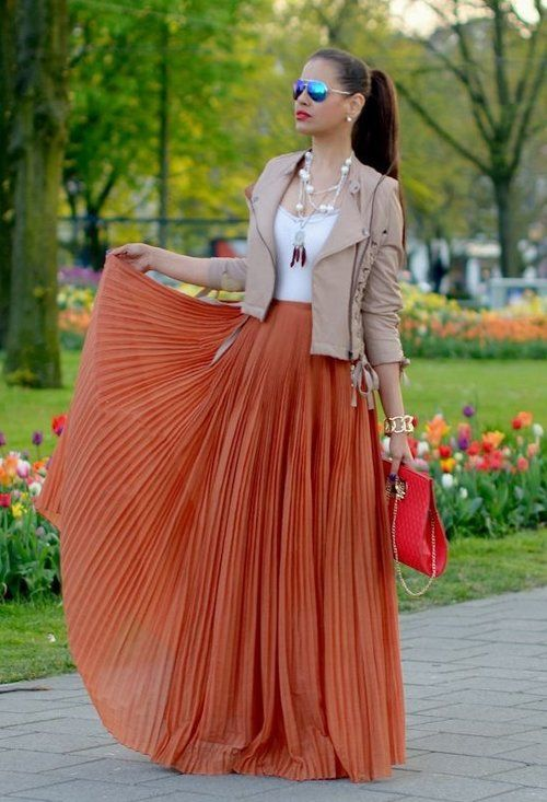 Nude leather jacket, rust orange maxi skirt and white tank: