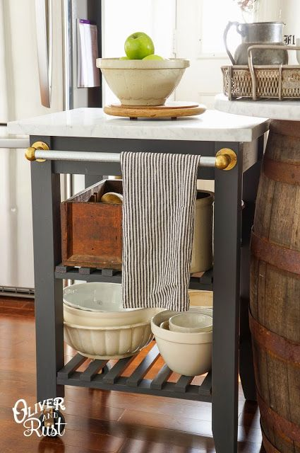 IKEA Bekvam Kitchen Cart, and links to show it painted a variety of different ways. I like it here, painted gray with a marble top.