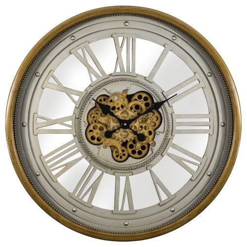 Yosemite Home Decor 5140039 32 In Gear Clock In Gold Silver Industrial Bellacor In 2020 Clock Gear Wall Clock Gear Clock